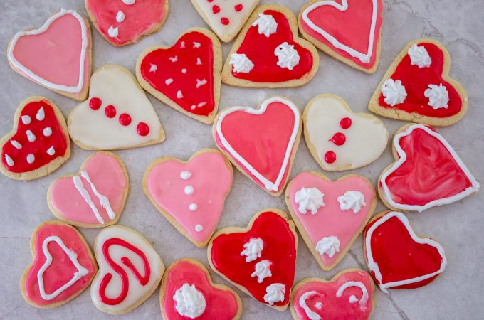 heart cookies on a tray