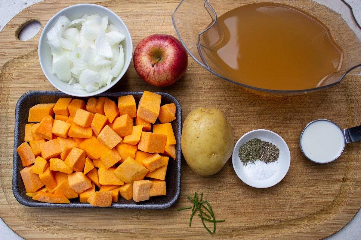 cubed squash, chopped onions, broth, onion, potato, apple, seasonoings