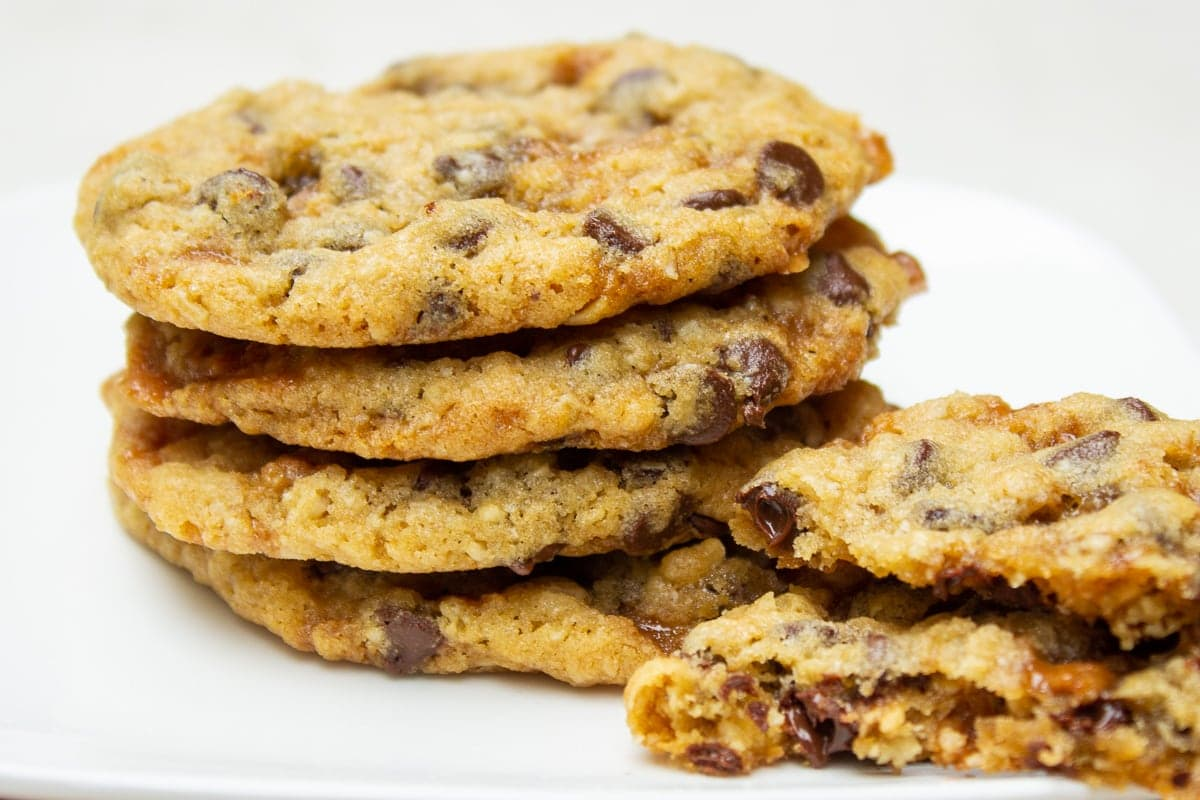 stacked chocolate chip toffee cookies