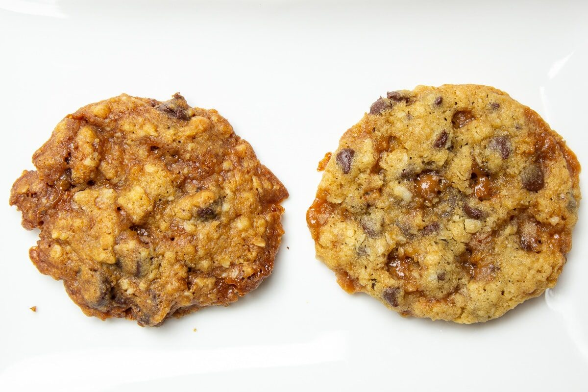 two cookies - one is crispier and darker, the other lighter and softer