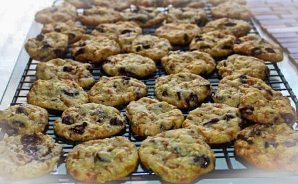 skor chocolate chip cookies on cooling rack