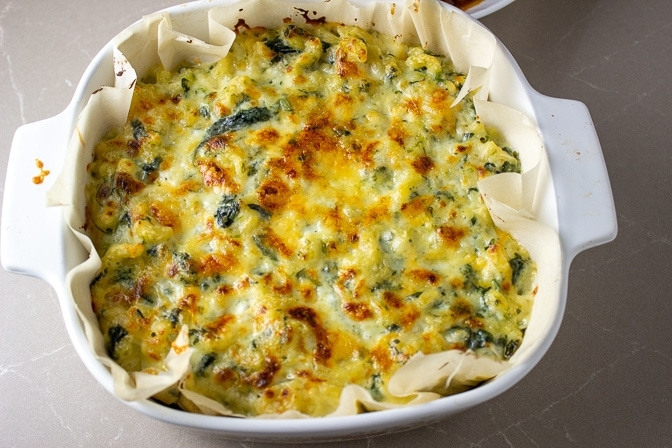 baked Spinach Mac and Cheese casserole