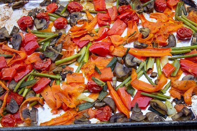 roasted veggies on a pan