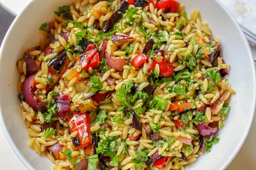 Grilled Vegetable Orzo in bowl