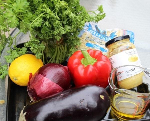 eggplant, pepper, onion, dijon, parsley, lemon, oil seasonings