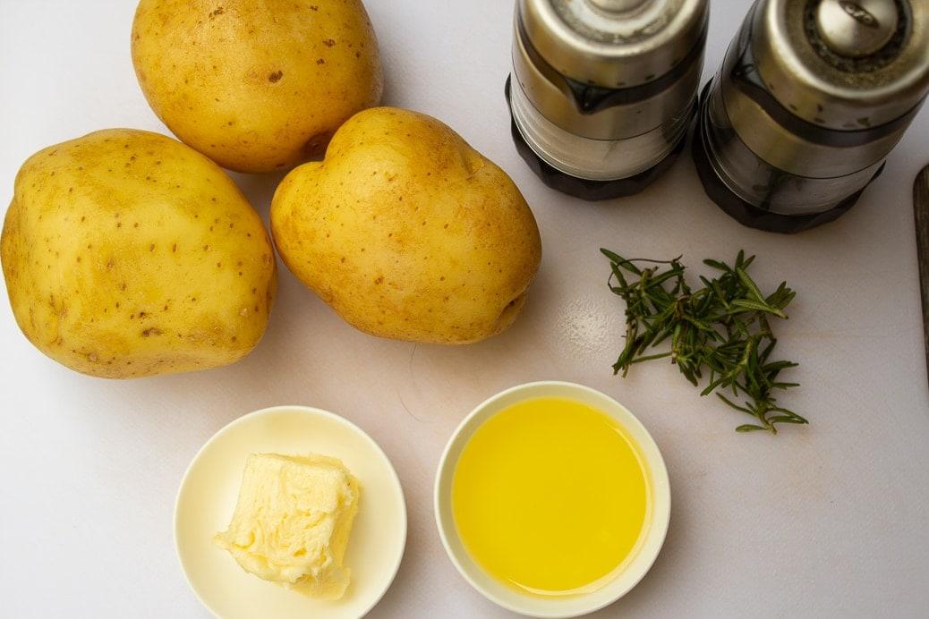 potatoes butter oil rosemary salt pepper