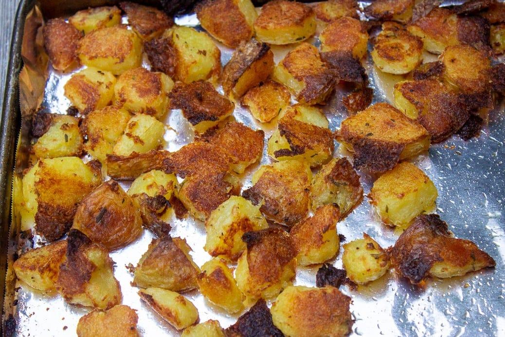 roasted potatoes on pan