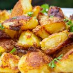 roasted potatoes piled on plate p1