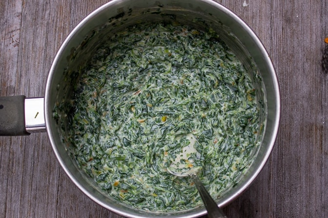 Creamed Spinach in a pot