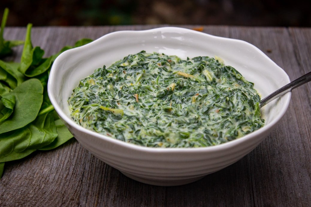 Creamed Spinach in a serving bowl