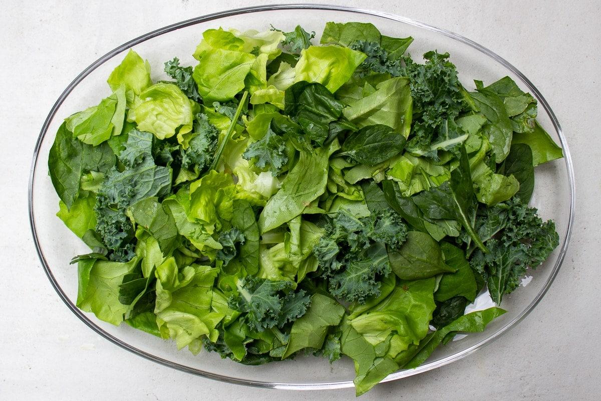 greens on a serving platter