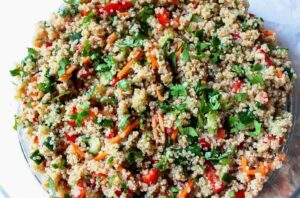Thai Quinoa Salad in a glass bowl