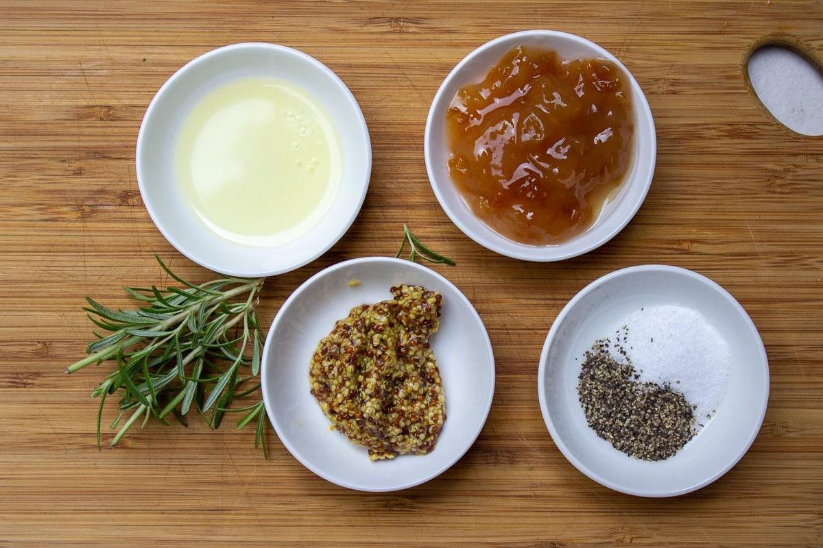 oil, grainy mustard, rosemary, marmalade, salt, pepper