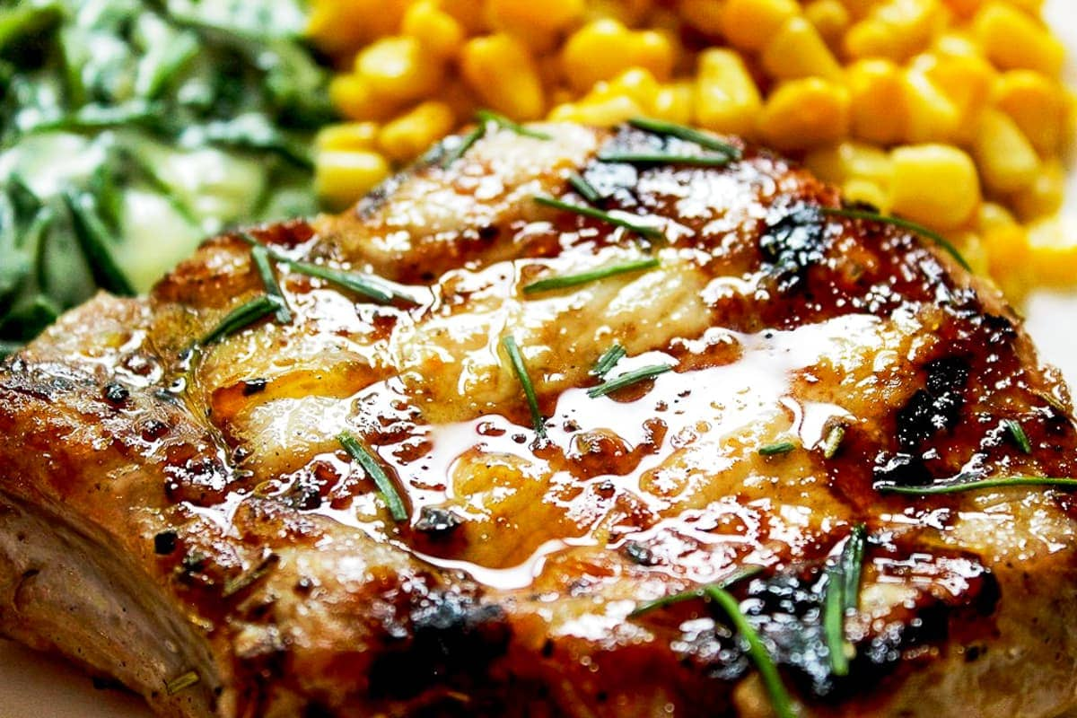 grilled pork chop on plate