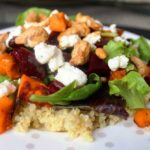 Quinoa Roasted Yam Salad with Maple Balsamic Dressing