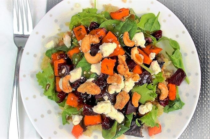 Quinoa sweet potato salad with maple balsamic dressing in bowl