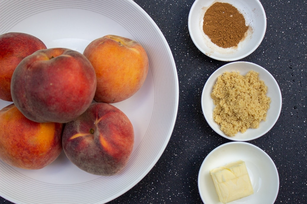 peaches in a bowl, brown sugar, butter, cinnamon