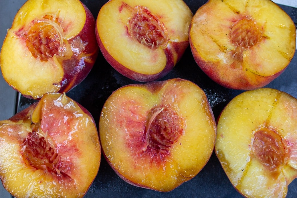 peaches cut in half pits removed