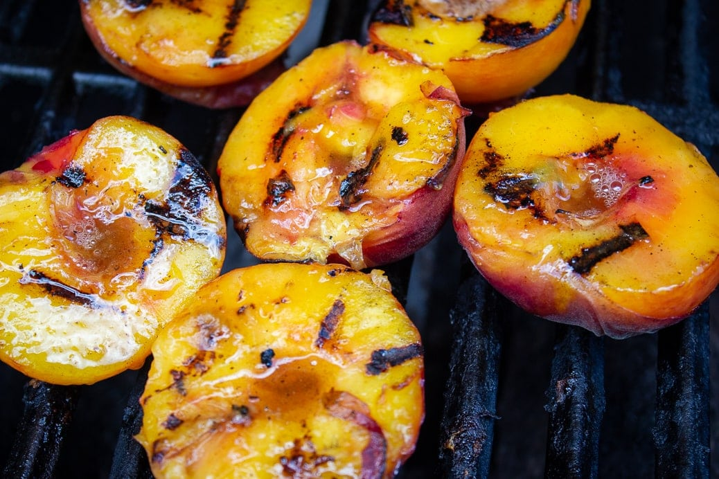 peaches on grill split side facing up