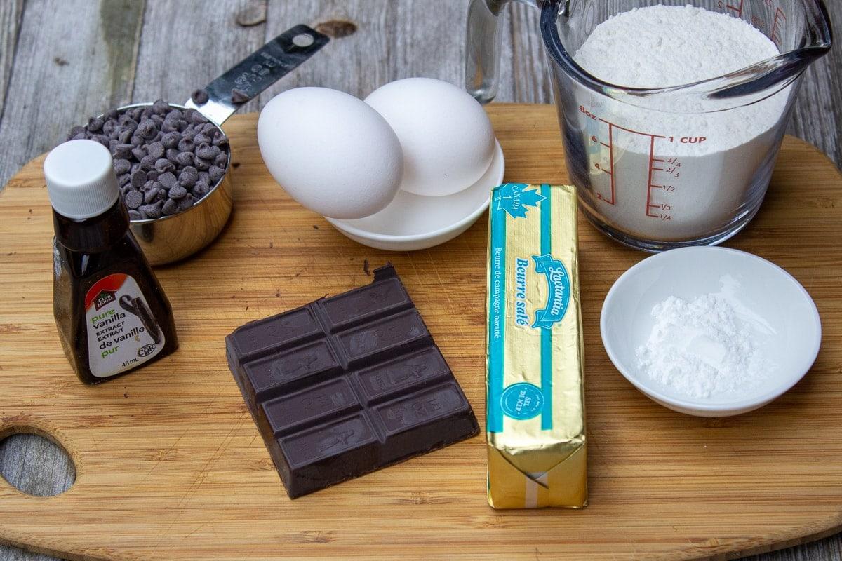 unsweetened chocolate, butter, baking powder, eggs, chocolate chips, vanilla, flour, sugar