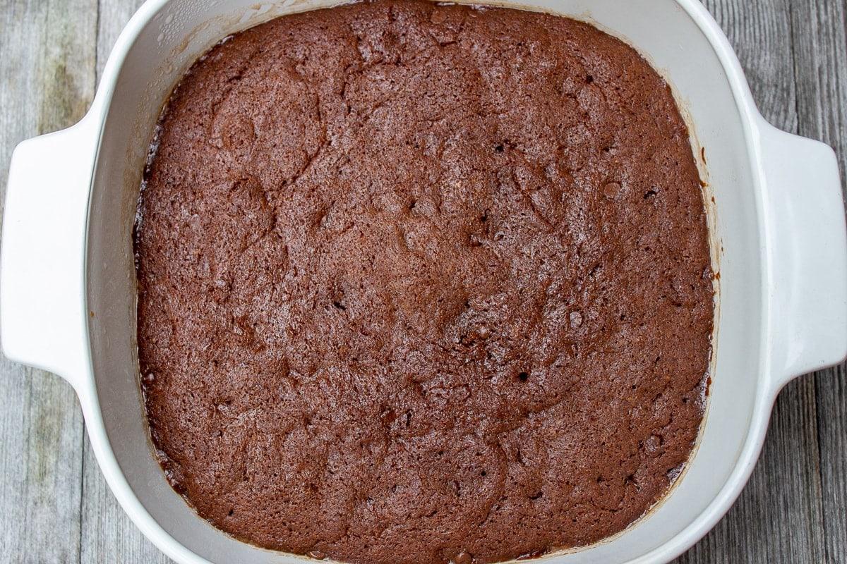 cooked microwave brownies in pan