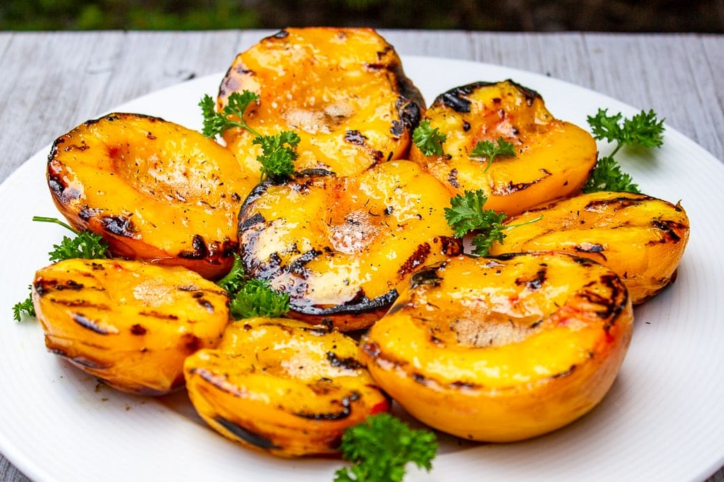 plate of grilled peaches 2