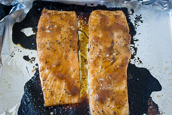 Maple-Ginger Salmon finished roasting on pan
