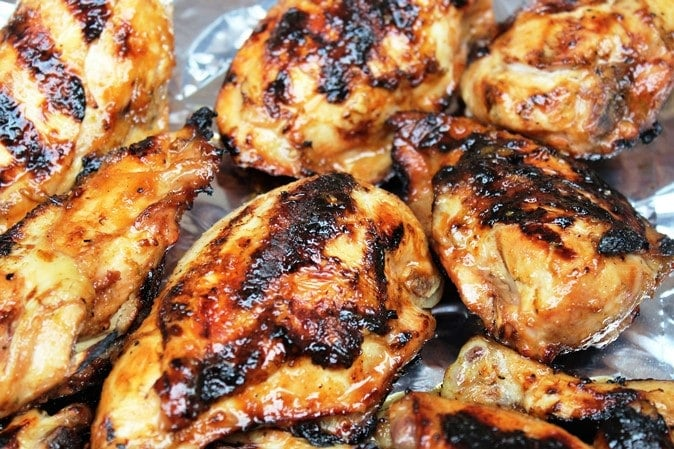 Spicy Honey-Lime Chicken bone-in breasts on platter