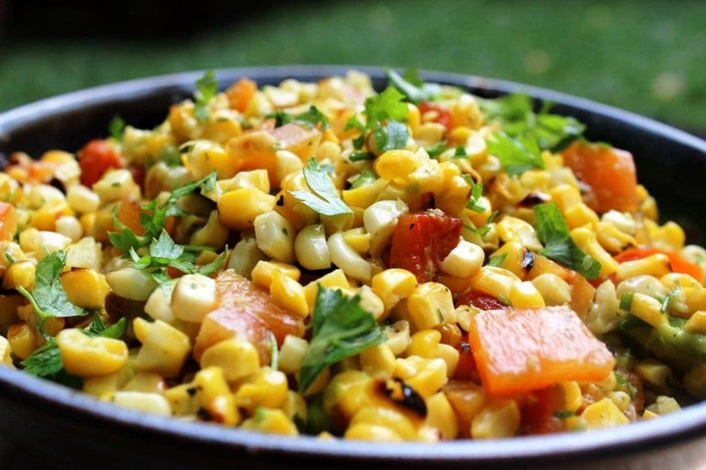 Grilled Corn Salad in bowl