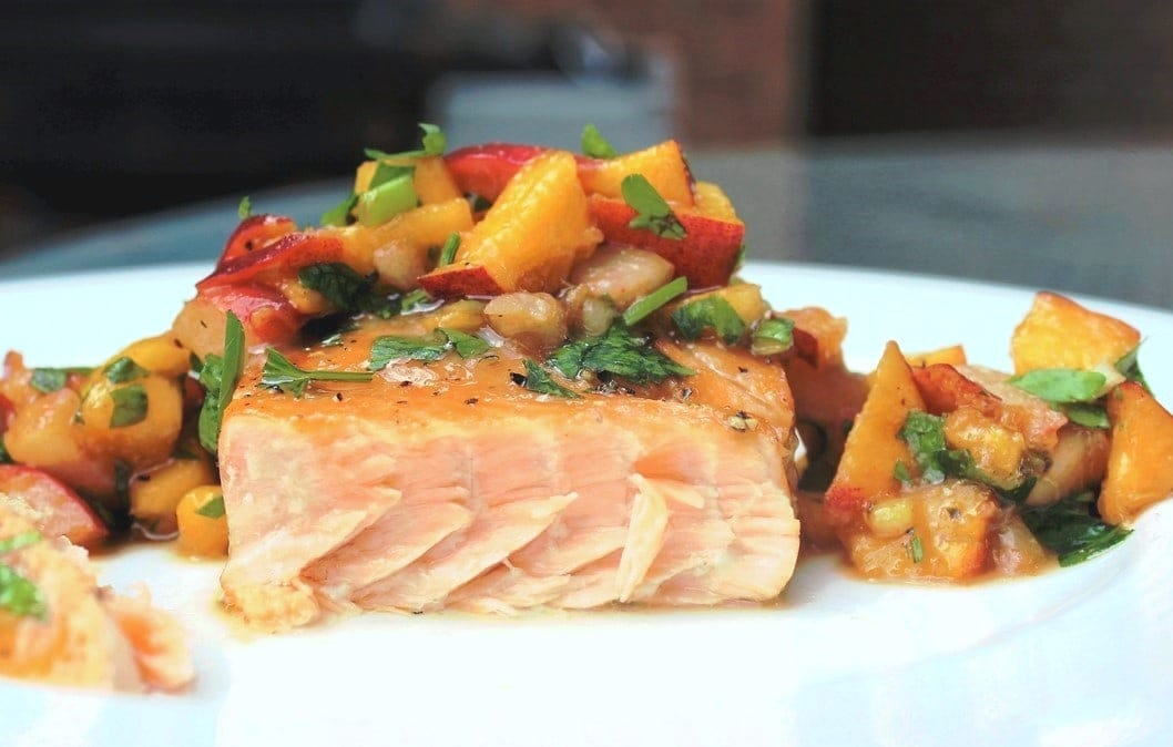 maple-glazed salmon with peach salsa