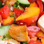 Peach panzanella salad in bowl p2