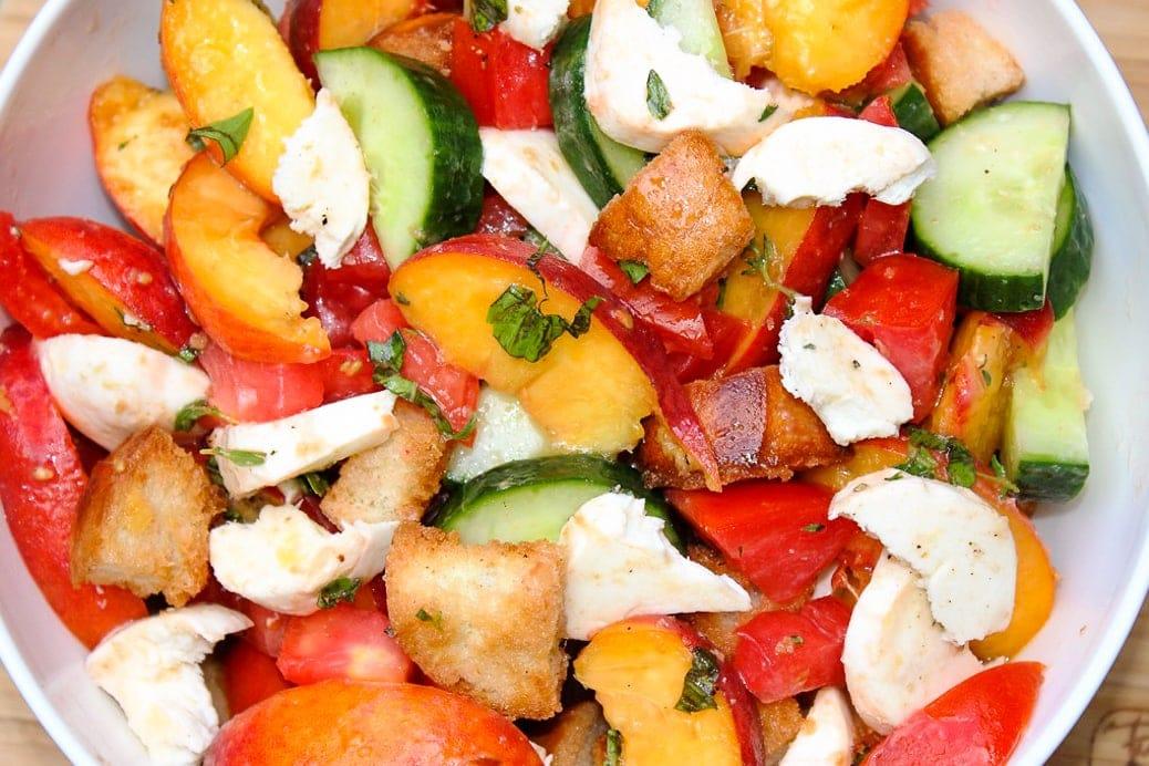 Peach panzanella salad in bowl 2