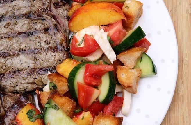 Peach Panzanella with steak