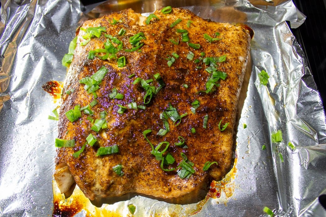 sweet and spicy salmon on a plan after roasting