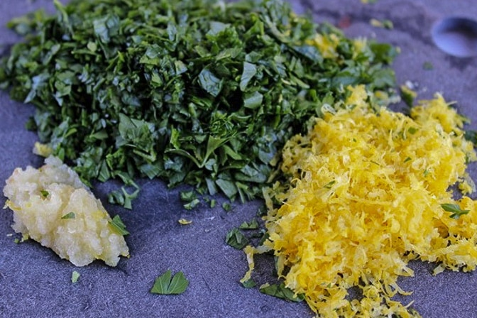 parsley, minced garlic, lemon zest