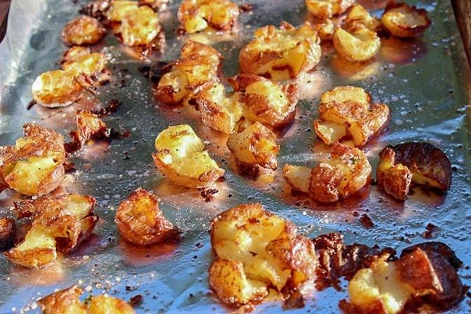 Crispy Smashed Potatoes on pan