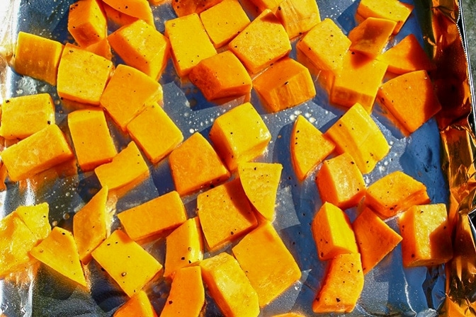 Butternut Squash in pan ready to roast