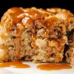 piece of apple cake and bourbon caramel sauce on plate p2