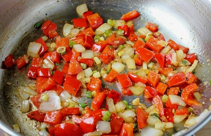 saute of onions garlic red peppers