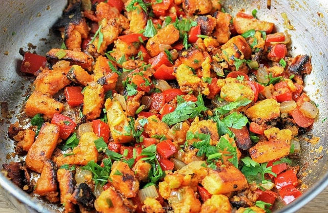 Vegetarian Sweet Potato Hash cooking in pan