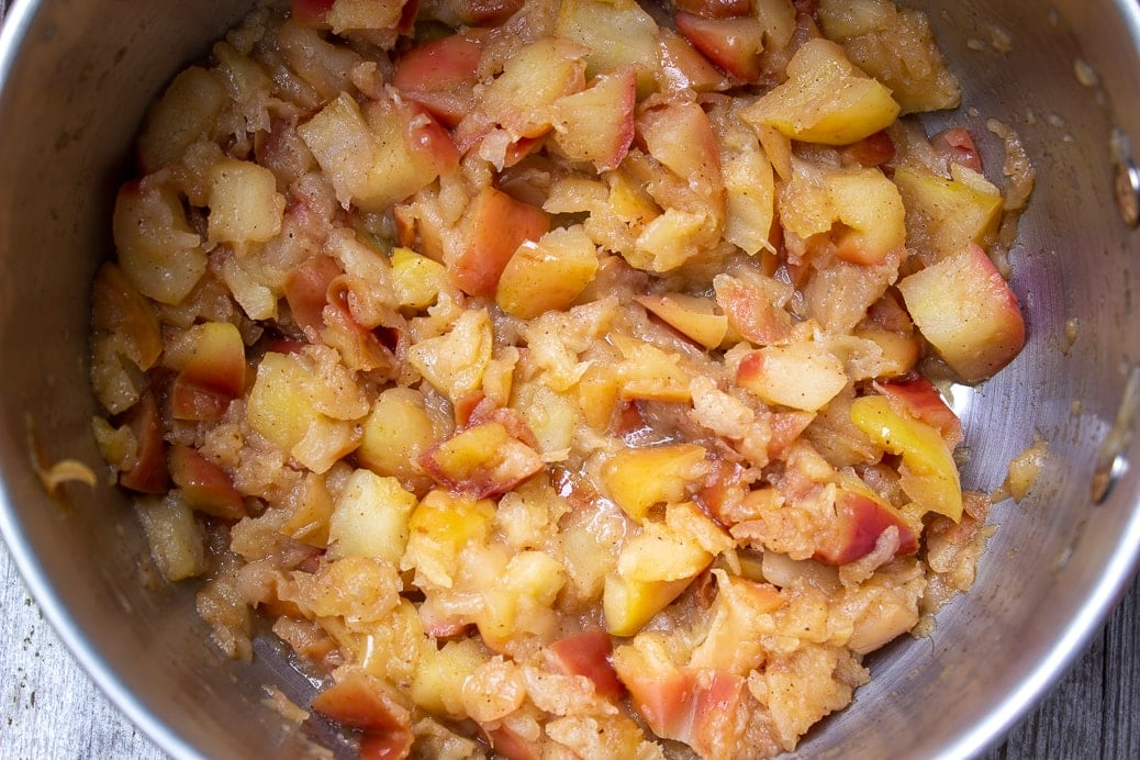 cooked chunky applesauce in pot