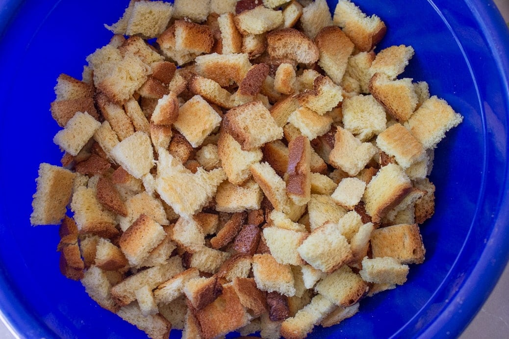 toasted bread cubes in a bowl