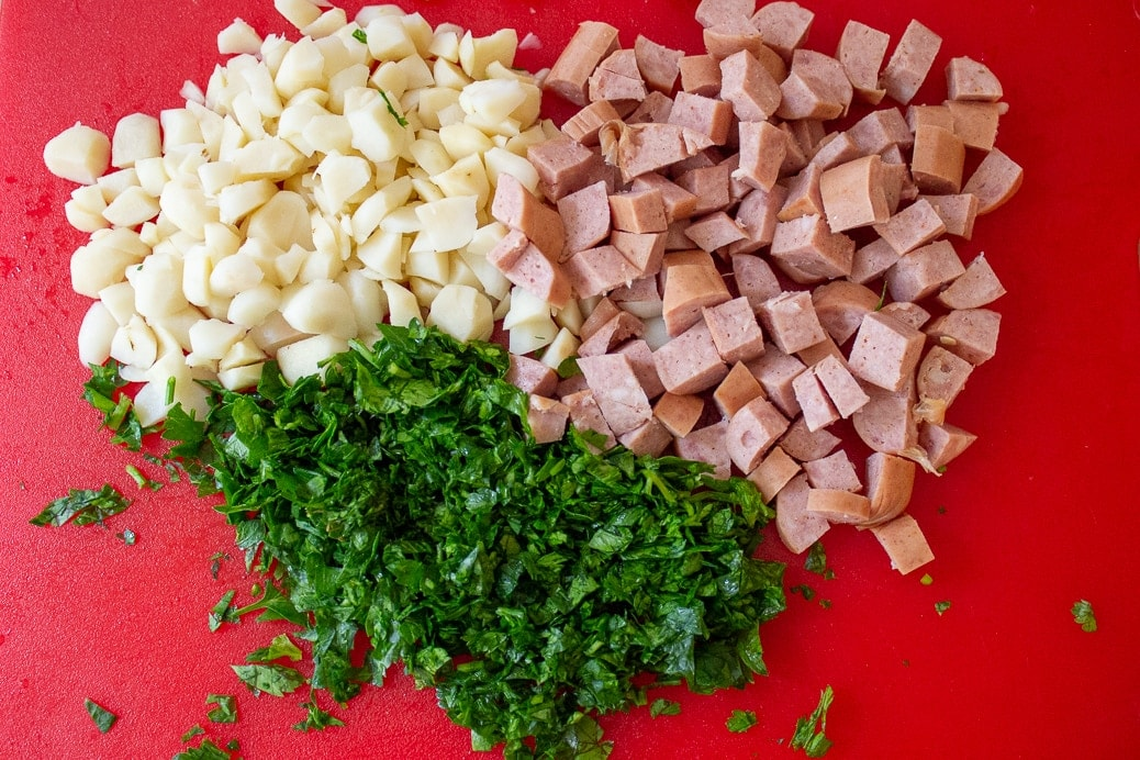 chopped water chestnuts, parsley, hotdogs