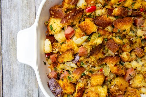 Homemade stuffing baked in casserole dish ff