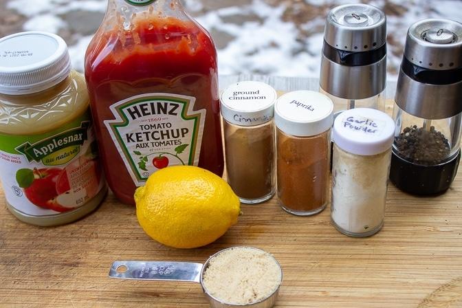back ribs ingredients - ketchup, applesauce, lemon, brown sugar, garlic powder, paprika, cinnamon