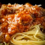 spaghetti and meat sauce in a bowl p2