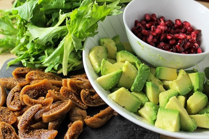 figs, pomegranates, avocado, greens