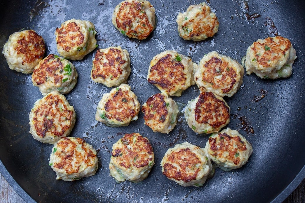 fried meaballs in pan