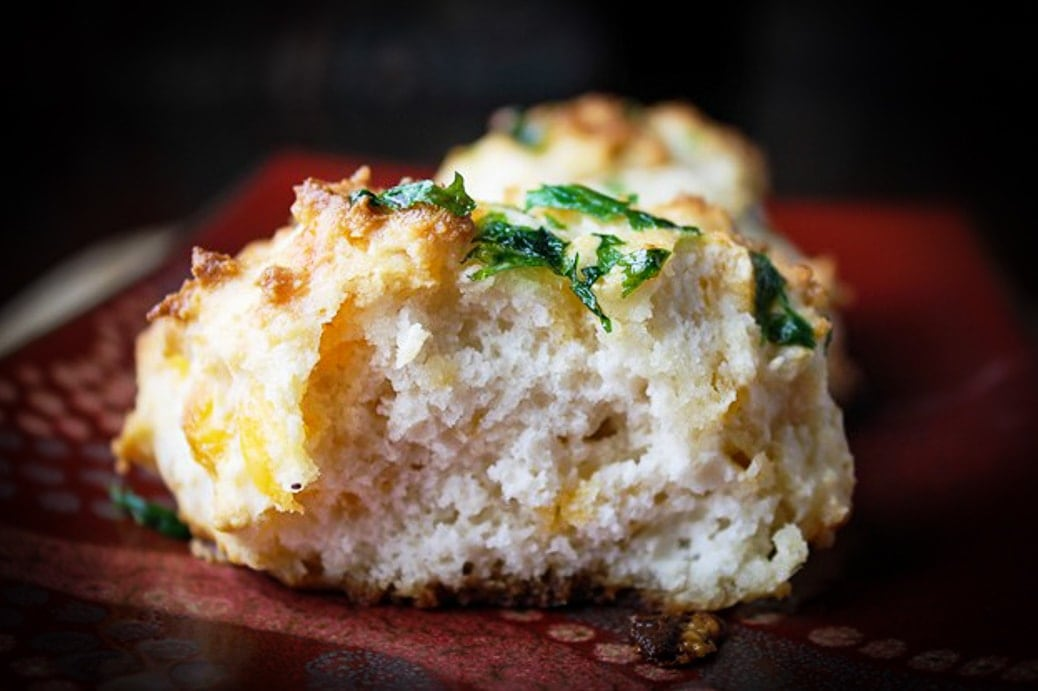one red lobster cheddar biscuits on plate cut open to see inside 2