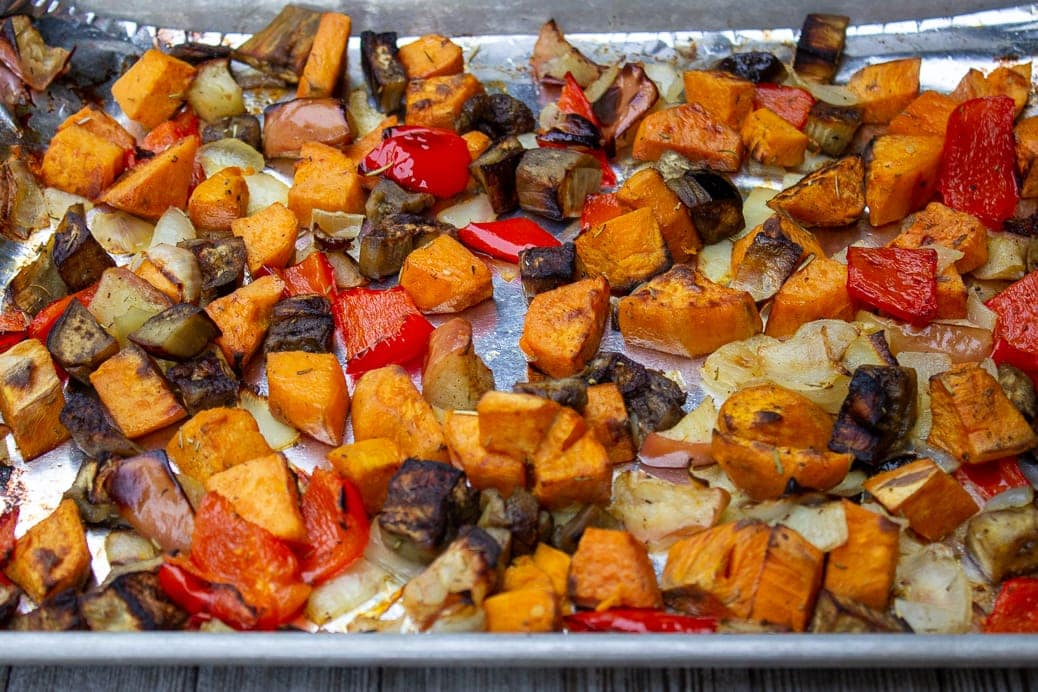 roasted vegetables in pan